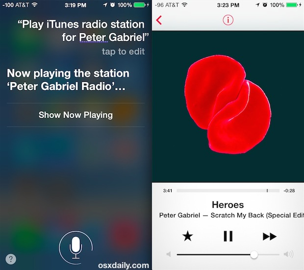 Siri iTunes Radio commands