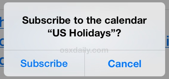 Subscribe to Holiday calendar in iOS