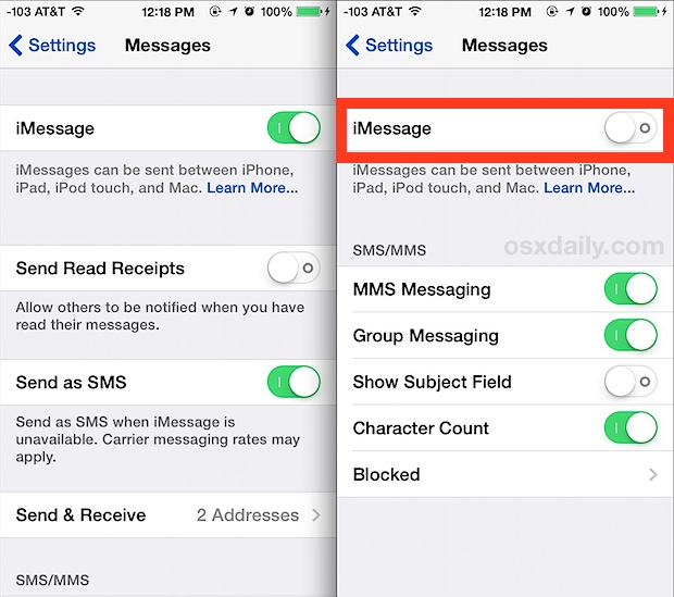 how to turn off text messages on iphone how to disable imessage on the iphone completely 1628