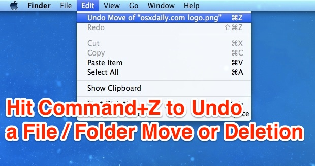 Undo a file or folder move / Trash by hitting Command-Z