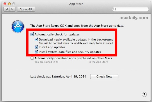 Use Automatic Updates in Mac OS X