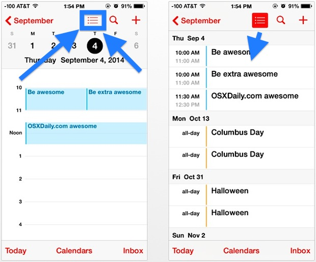 Wider date event list view in iOS Calendar