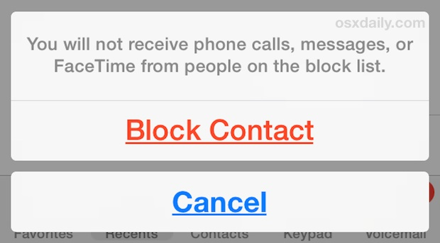Block a contact on the iPhone