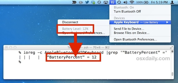 Bluetooth Battery Level seen from the Command Line in Mac OS X