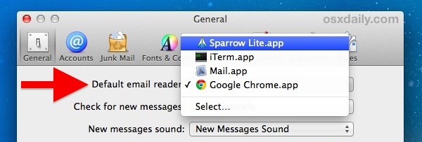 Other default mail client options in Mac OS X
