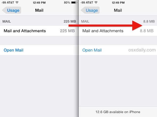 Clear Mail and Attachments storage space in iOS