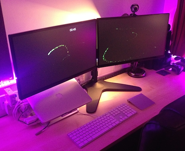 MacBook Pro with Retina Display and Dual External Monitors with custom mood lighting