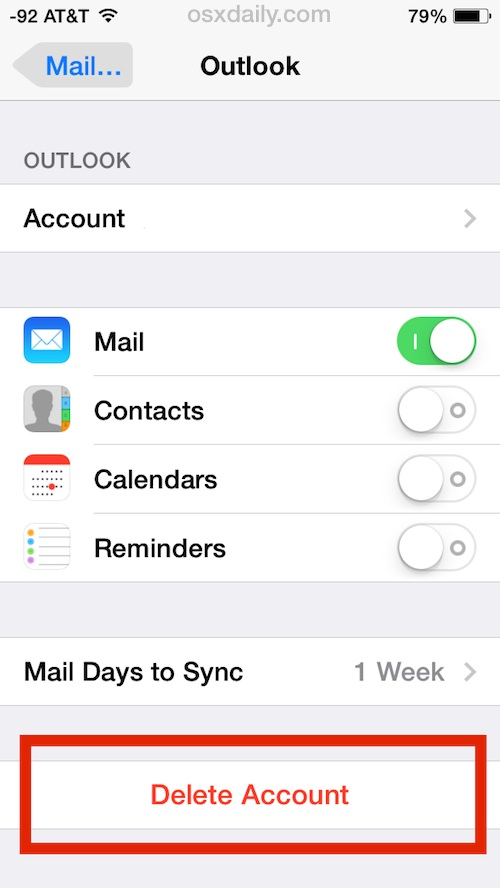 Remove an email account and it's Mail attachment files