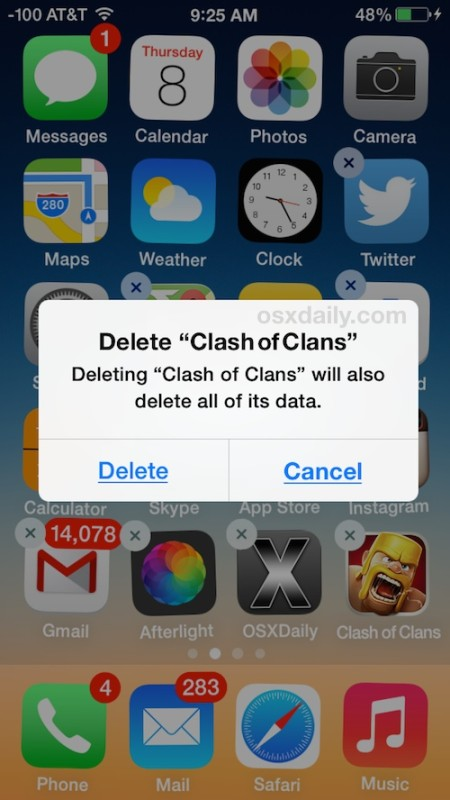 Delete apps in iOS with a tap and hold