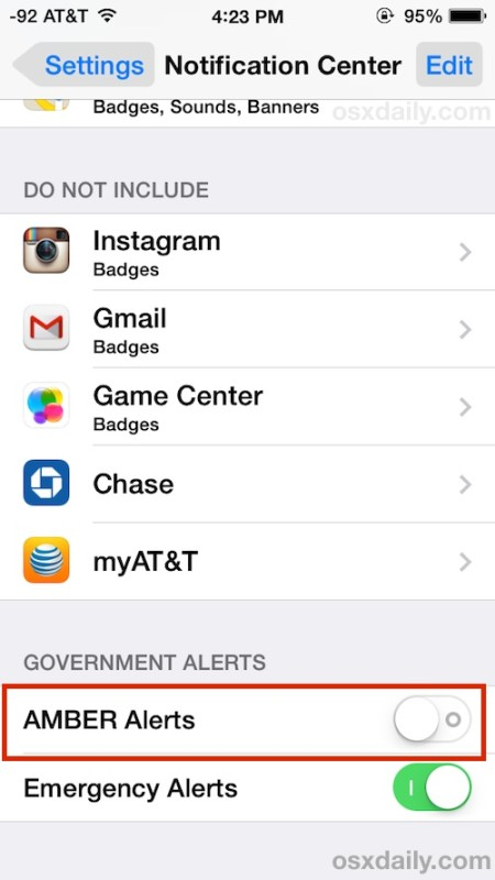 Disable AMBER Alerts on the iPhone