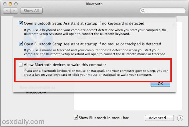 Disable Bluetooth waking a Mac from sleep