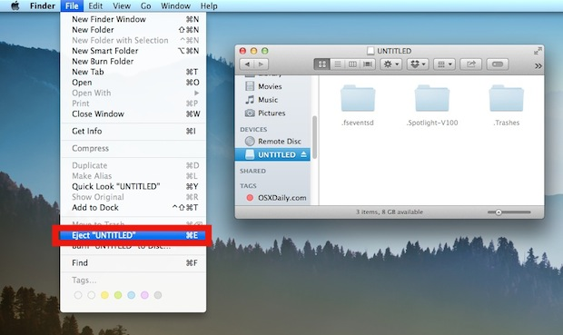 Safely remove a disk by ejecting it properly in Mac OS X