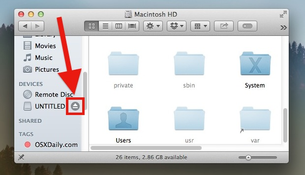 Eject disk property in Mac OS X to safely remove the drive and prevent problems