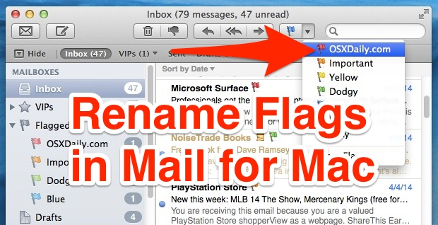 How to rename email flags in Mail app for Mac OS X