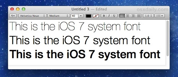 iOS system font Helvetica Neue