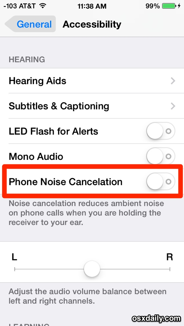iPhone Phone Noise Cancelation feature in iOS