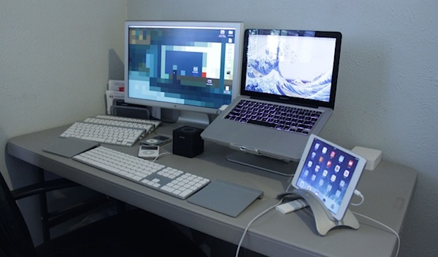 MacBook Pro desk setup of a Film Professional built by Craigslist deal hunting