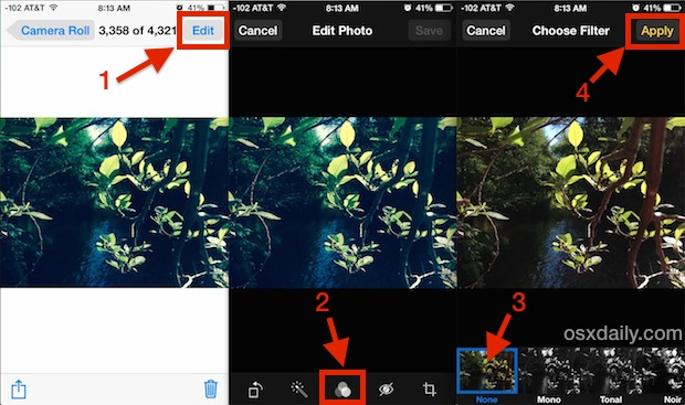 Remove color filters from photos in iOS