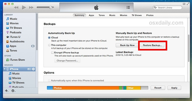 Recover photos from an iPhone by using iTunes restore from backup