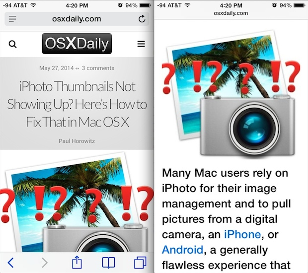 Safari Reader mode on a mobile optimized site on the iPhone