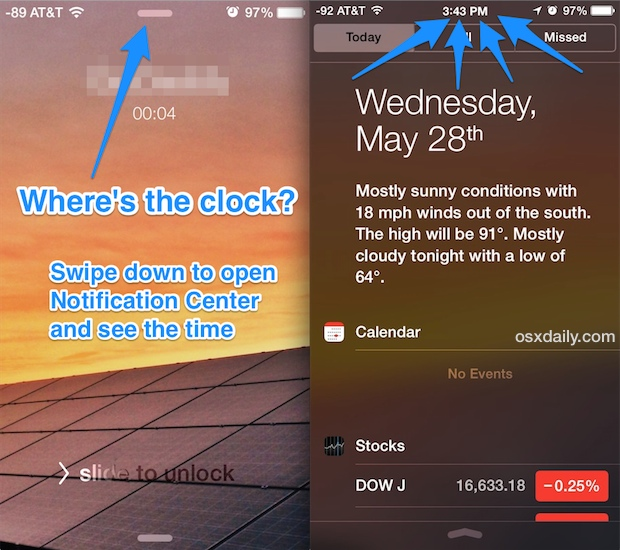 See the Clock and Time when on an iPhone phone call at the lock screen
