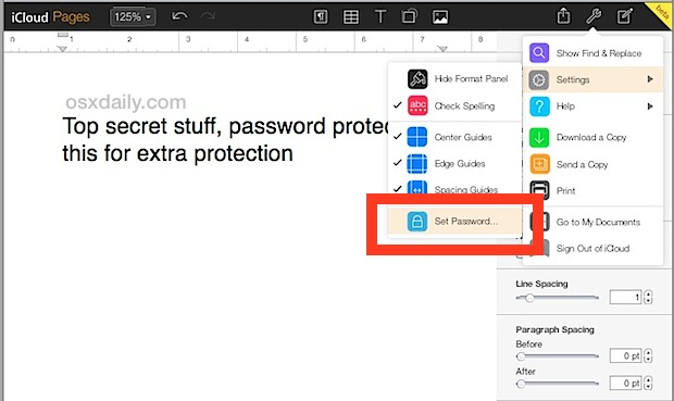 Set Password on Pages document in iCloud