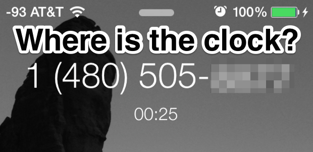 Show the clock when on an iPhone phone call