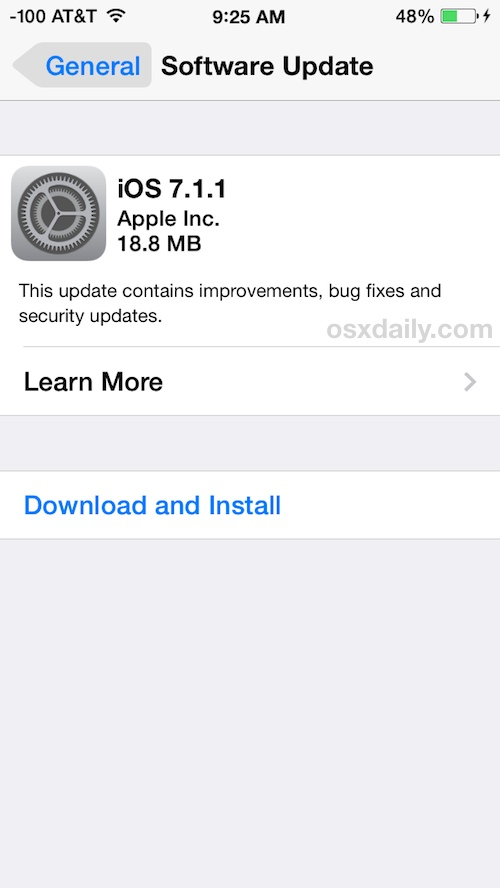 Updating iPhone software with iOS OTA update