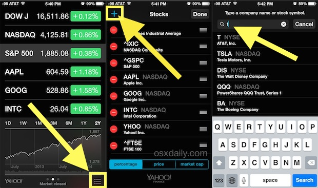 Add stocks to the Notifications screen on iPhone