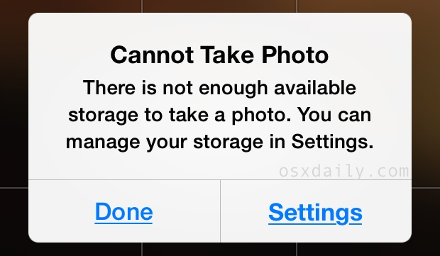 Cannot Take Photo - not enough available storage error message on iPhone