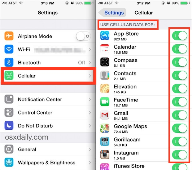 Control what apps can use cellular data in iOS