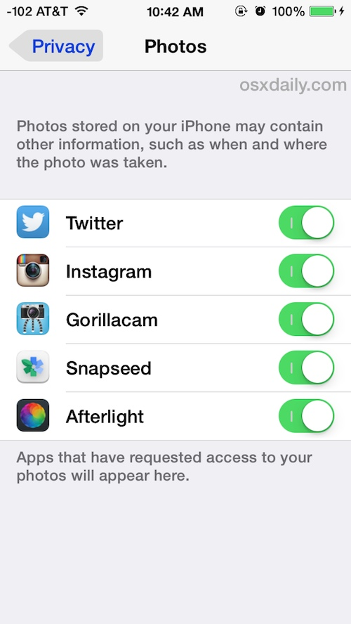 Control and determine what apps have access to iOS Photos