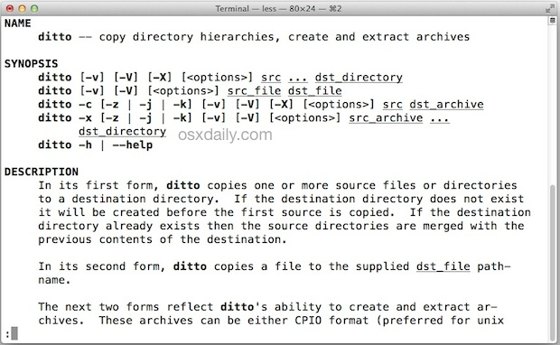 The ditto man page explains how to use it to copy files and directories in an advanced manner