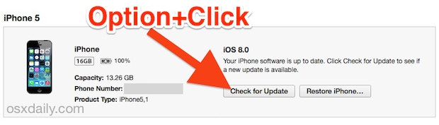 Downgrade iOS 8 by updating with IPSW files