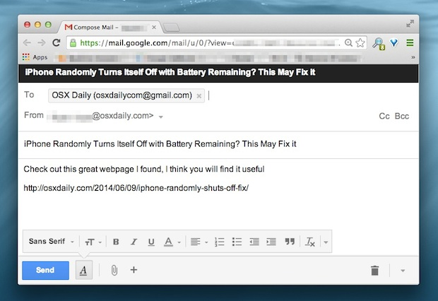 Email a webpage URL from Safari or Chrome with a keyboard shortcut
