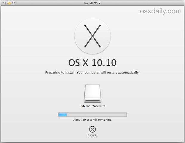 Installing OS X Yosemite