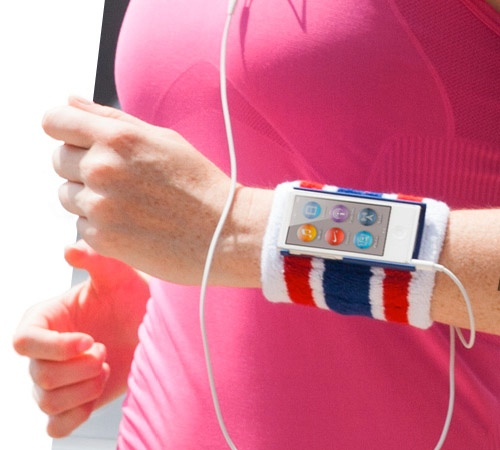 "iPod nano with a 2.5"" screen on someones wrist with a sock thing holding it on there looking real athletic janke status"