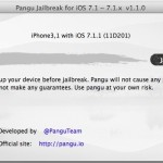 Pangu Jailbreak for iOS 7.1.1 running in Mac OS X