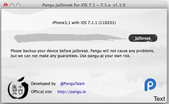 Pangu Jailbreak for iOS 7.1.1 running in Mac OS X