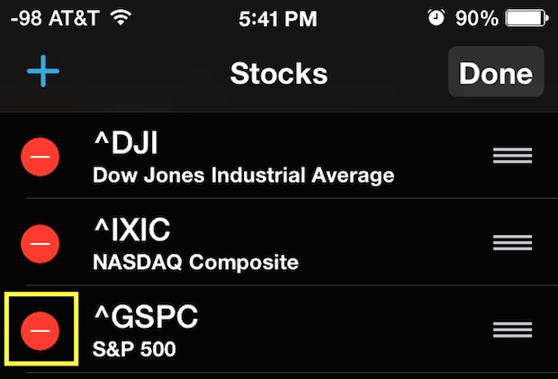 Remove stocks from the Notification Center of iphone