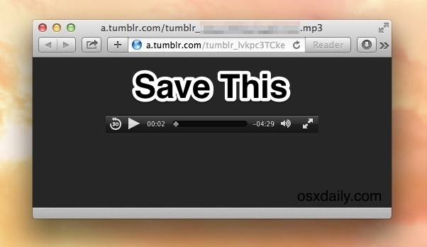 Save an audio or video file from Safari in Mac OS X