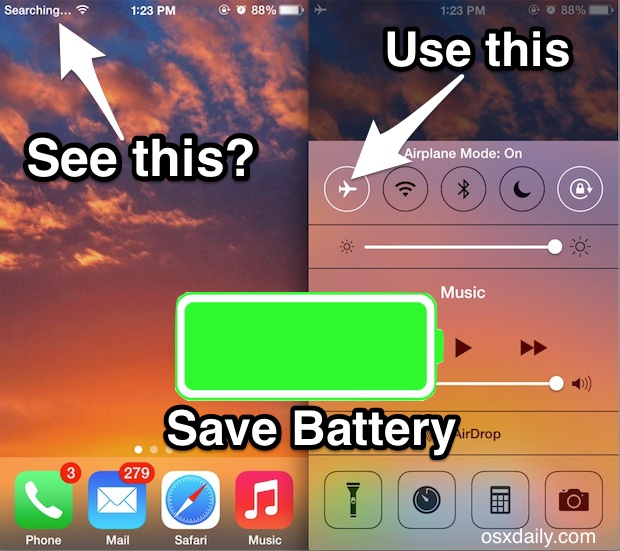 Save battery when iPhone is Searching for signal