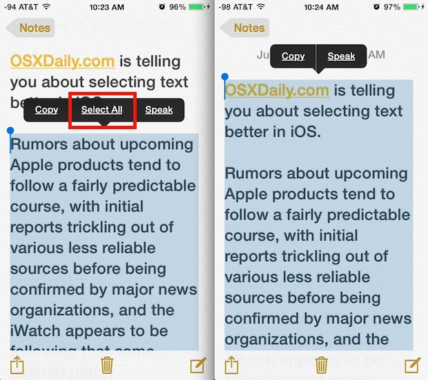 Select all text quickly in iOS