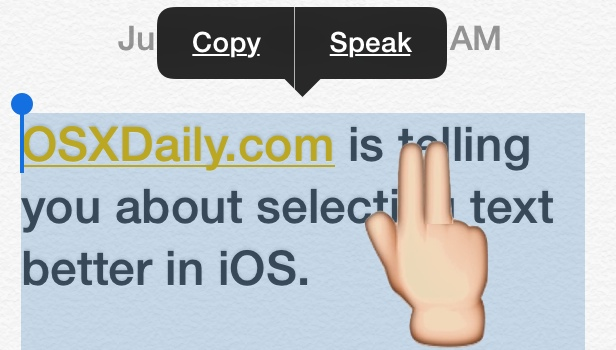 Select a paragraph instantly in iOS with a two-finger tap trick