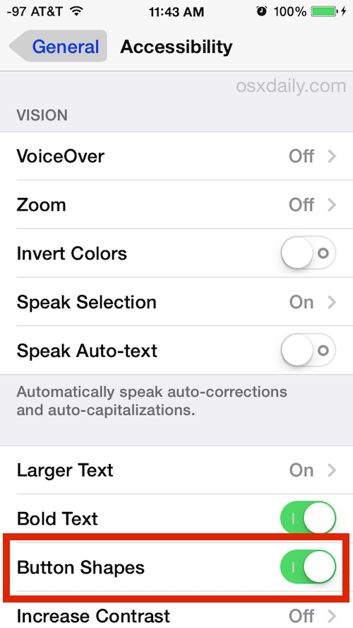 Turn on Button Shapes in iOS