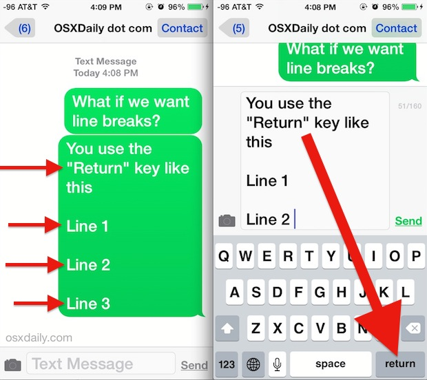 Type a line break in Messages app for iOS