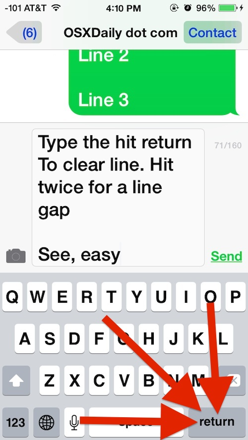 Typing line breaks in iMessages