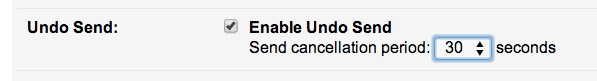 Adjust the Undo Send email recall period in Gmail options