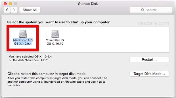 Select Mavericks partition from OS X Yosemite to return back at boot