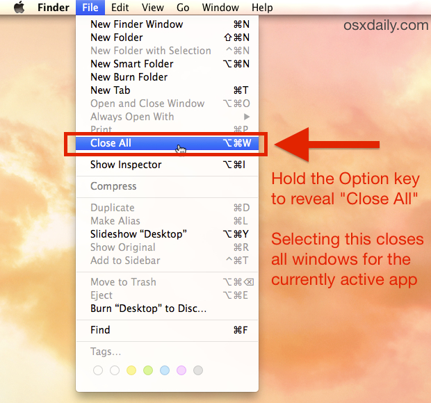 Close All Windows on Mac with a Shortcut